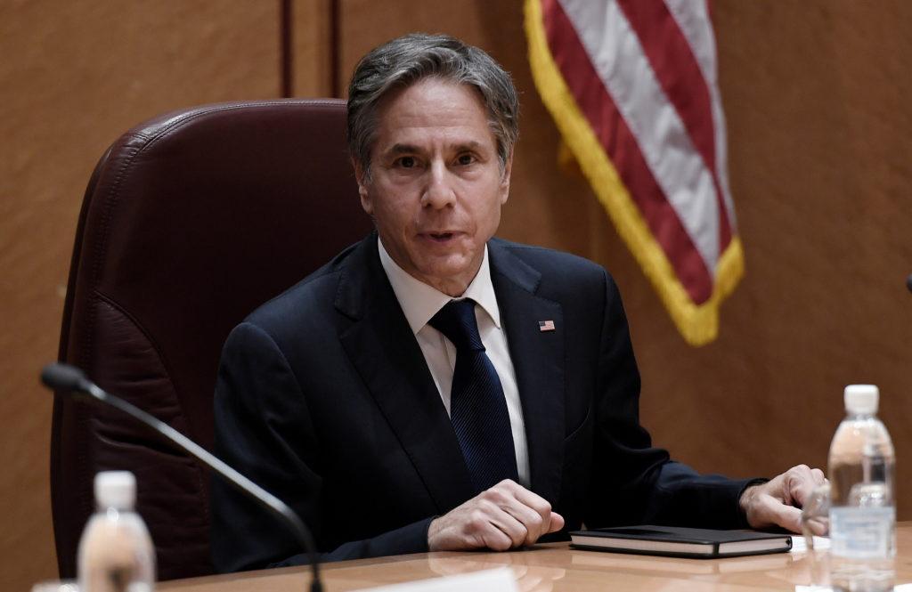U.S. Secretary of State Blinken attends a meeting at Ramstein