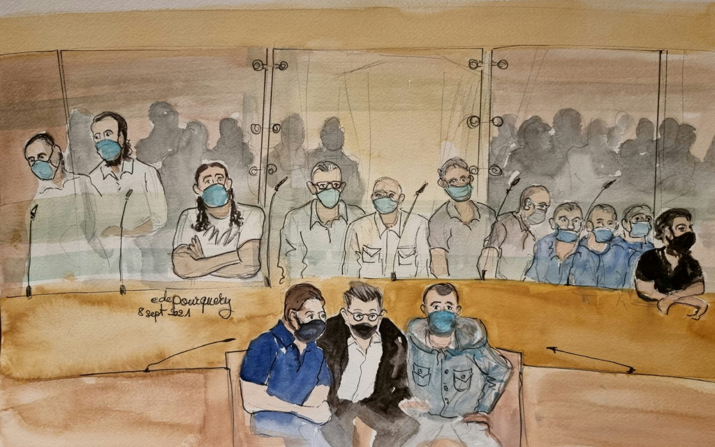 Sketches show Paris' November 2015 attacks accused during trial at Paris courthouse