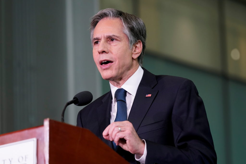 FILE PHOTO: U.S. Secretary of State Antony Blinken speaks about infrastructure investment at the University of Maryland's ...