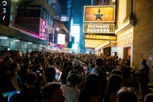 Broadway shows begin to re-open to live audiences after being closed for more than a year due to the outbreak of the coron...