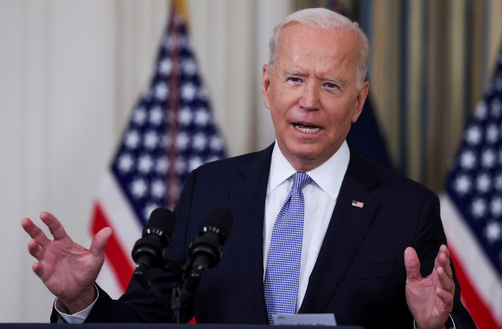 U.S. President Joe Biden speaks about COVID-19 vaccines at the White House in Washington