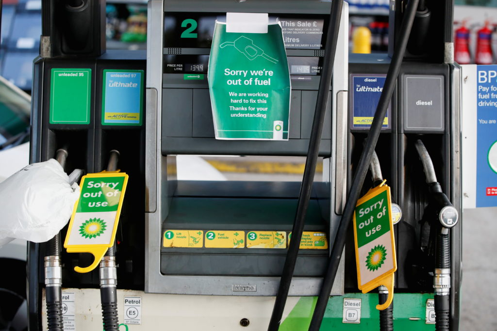 A BP petrol station that has ran out of fuel is seen in Hemel Hempstead