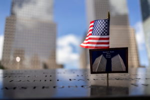 A postcard of the Twin Towers is seen at the 9/11 Memorial ahead of the 20th anniversary of the September 11 attacks in Ma...