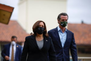 U.S. Vice President Kamala Harris tours the Upper San Leandro Water Treatment Plant accompanied by California Governor Gav...