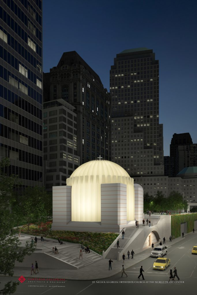 This rendering of St. Nicholas Greek Orthodox Church and National Shrine at the World Trade Center by architect Santiago Calatrava depicts how the church will light up from the inside, a key part of its architecture.