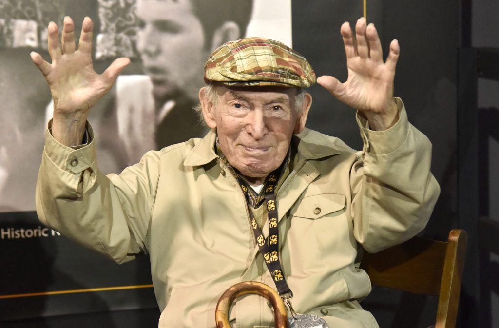 Jazzfest founder George Wein is interviewed during the 2019 New Orleans Jazz & Heritage Festival 50th Anniversary at F...