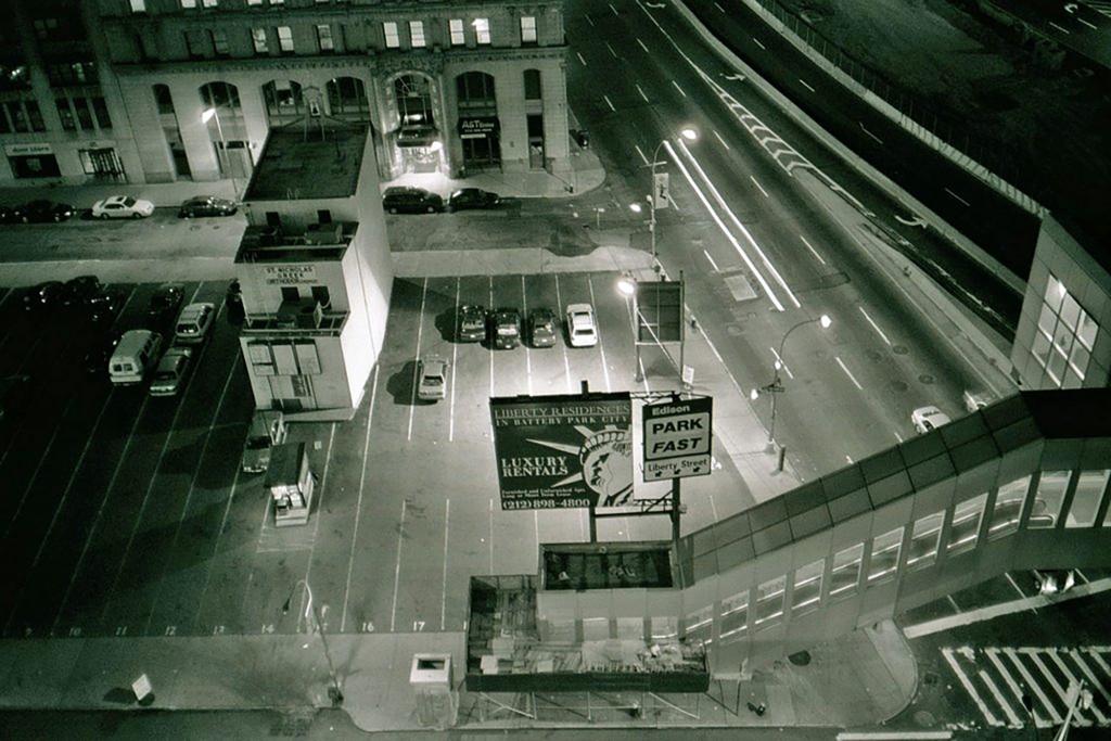 St. Nicholas Greek Orthodox Church sits in a parking lot in lower Manhattan in this pre-2001 photo.