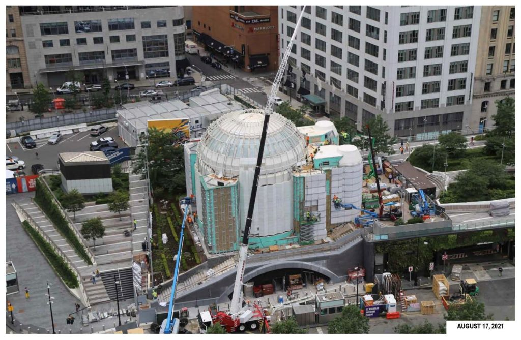 Work on the new St. Nicholas Greek Orthodox Church and National Shrine at the World Trade Center continues on Aug. 17, 2021 in lower Manhattan.
