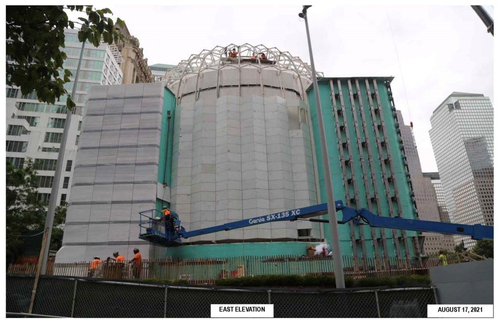 Construction crews continue working on the new St. Nicholas Greek Orthodox Church and National Shrine at the World Trade Center in lower Manhattan on Aug. 17, 2021.