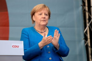 German Chancellor Merkel and CDU party leader and candidate for chancellor Laschet attend a rally, in Aachen