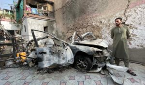 Aftermath of the drone attack in Afghan capital Kabul