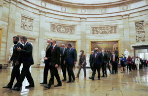 Senators arrive ahead of the first address by U.S. President Joe Biden to a joint session of the U.S. Congress at the U.S....