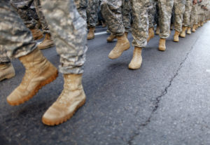 Members of the Army march up 5th Avenue during the Veterans Day Parade in New York