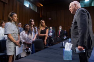 Senate Judiciary hearing on the FBI handling of the Larry Nassar investigation of sexual abuse of Olympic gymnasts, in Was...