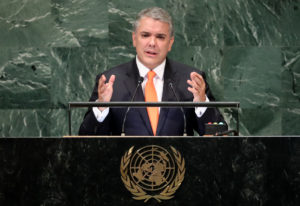 Colombia's President Ivan Duque Marquez addresses the General Assembly in New York