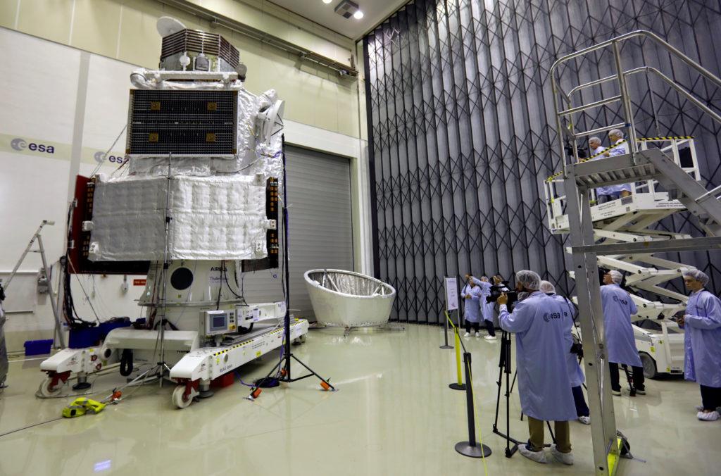 Spacecraft BepiColombo is seen at the ESA's ESTEC space centre, in Noordwijk