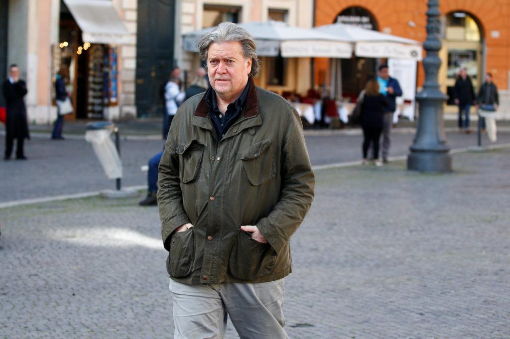 U.S. President Trump's former chief strategist Bannon walks in Piazza Navona in Rome