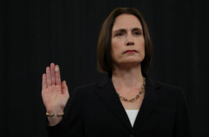 Fiona Hill is sworn in to testify in front of the House Intelligence Committee hearing as part of Trump impeachment inquir...