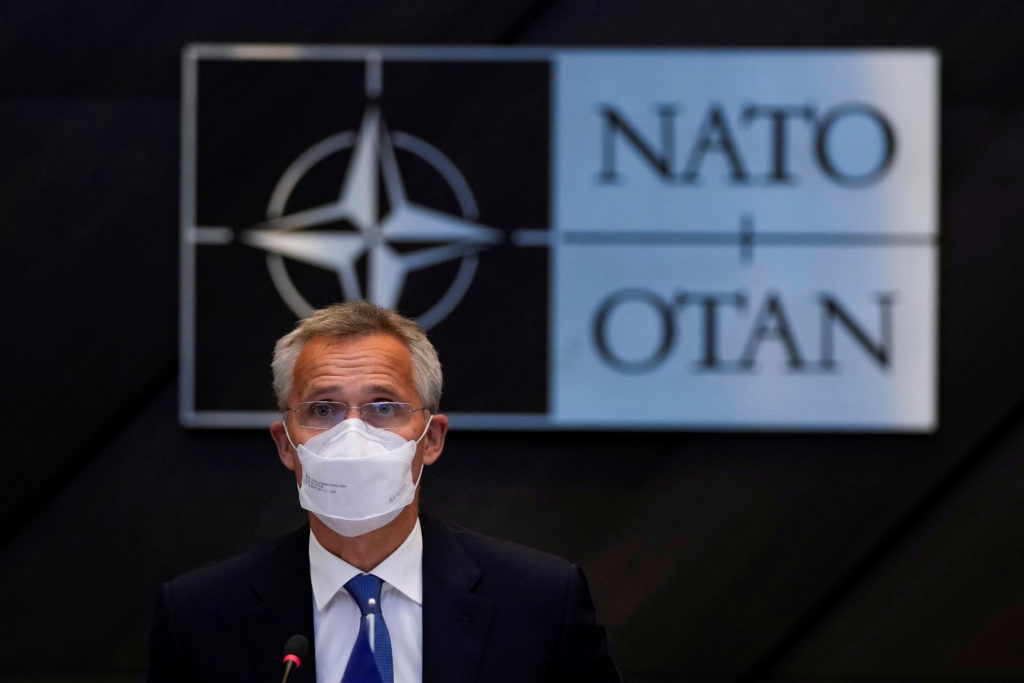 FILE PHOTO: NATO foreign ministers hold virtual crisis meeting on Afghanistan