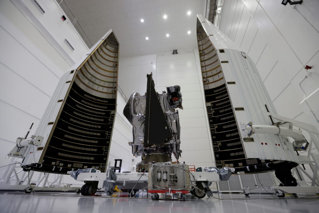 NASA's Lucy spacecraft is shown as it is prepared for launch in October aboard a United Launch Alliance Atlas 5 rocket