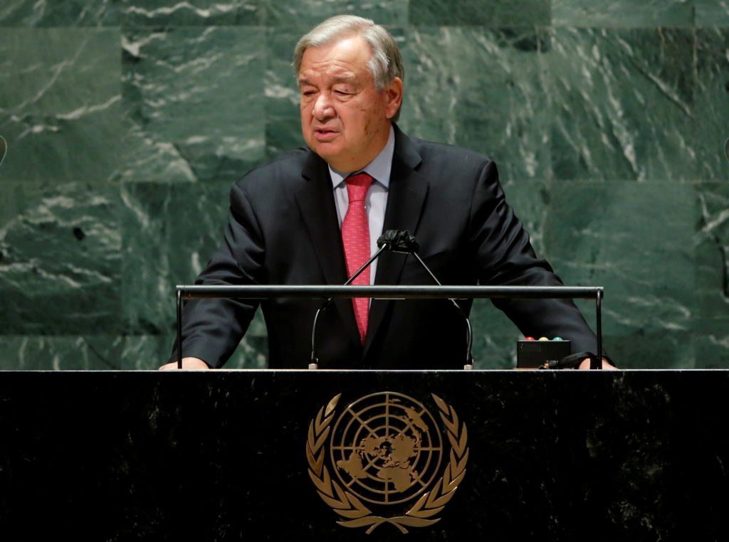 FILE PHOTO: United Nations Secretary-General Antonio Guterres addresses the 76th Session of the U.N. General Assembly in N...
