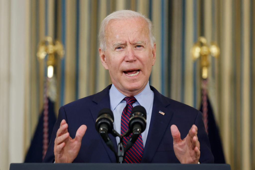FILE PHOTO: U.S. President Joe Biden delivers remarks on the U.S. debt ceiling from the State Dining Room of the White House