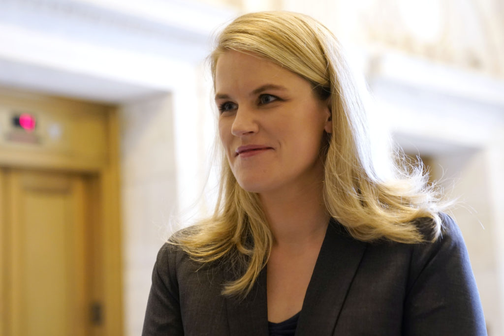 Oct 5, 2021; Washington, DC, USA; Former Facebook product manager Frances Haugen arrives to testify before the Subcommitte...
