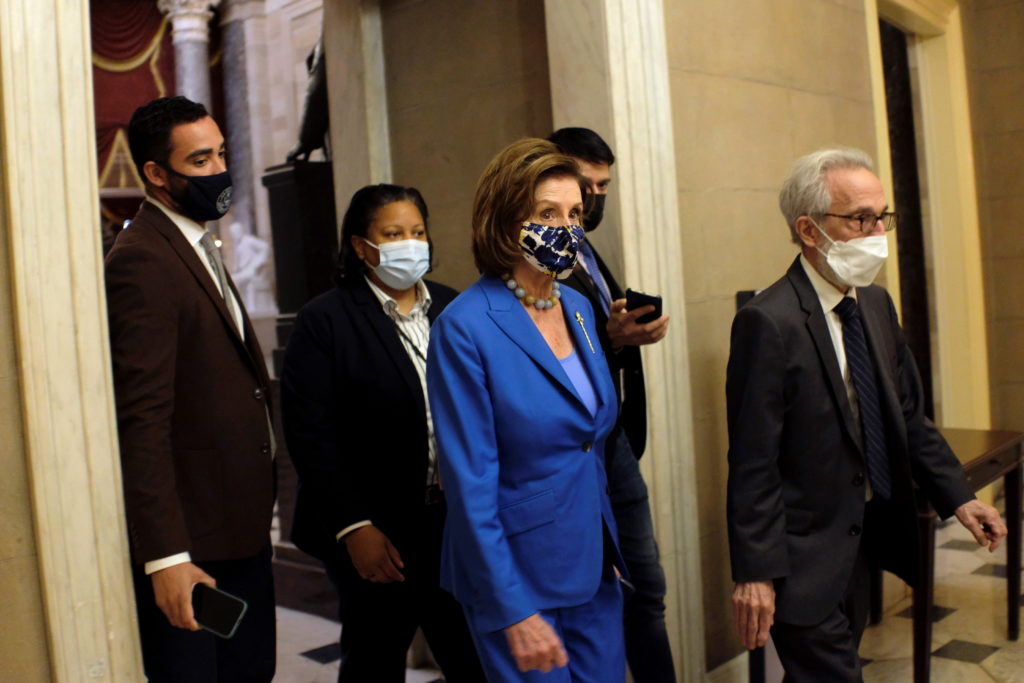 U.S. House Speaker Nancy Pelosi (D-CA) walks from the House floor to her office at the U.S. Capitol in Washington