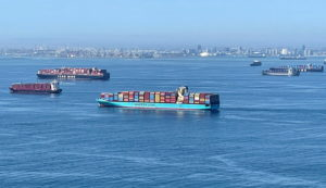 FILE PHOTO: Container ships wait off the coast of the congested Ports of Los Angeles and Long Beach in Long Beach, California