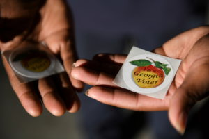 """View of """"I'm a Georgia voter"""" stickers on the penultimate day of early voting ahead of Election Day 2020, in Atlanta, Sout..."""