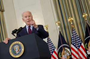 U.S. President Joe Biden delivers remarks on the U.S. debt ceiling from the State Dining Room of the White House