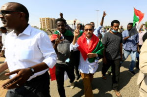 FILE PHOTO: Protest against prospect of military rule in Khartoum