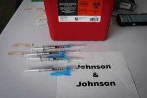 FILE PHOTO: Doses of Johnson & Johnson coronavirus disease (COVID-19) vaccines are seen in a mass vaccination site sup...