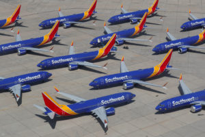 FILE PHOTO: A number of grounded Southwest Airlines Boeing 737 MAX 8 aircraft are shown parked at Victorville Airport in V...