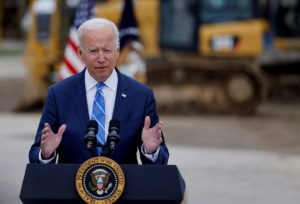 U.S. President Joe Biden tours the International Union of Operating Engineers Local 324 training facility