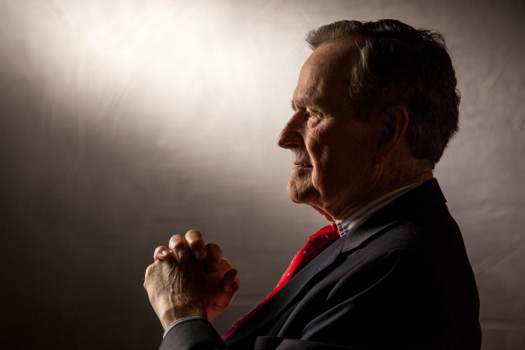 COLLEGE STATION, TX -- OCTOBER 24: Former President George H.W. Bush is interviewed for 'The Presidents' Gatekeepers' project about the White House Chiefs of Staff at the Bush Library, October 24, 2011, in College Station, Texas. (Photo by David Hume Kennerly/Getty Images).